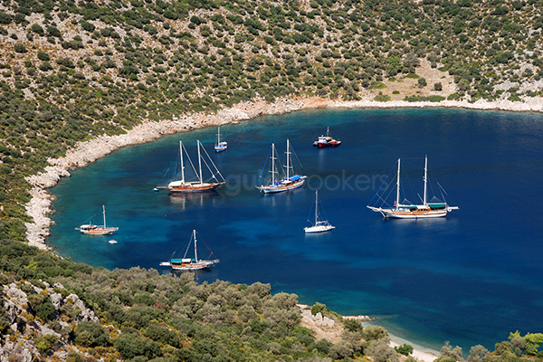 Turkey Small Cove with Yachts